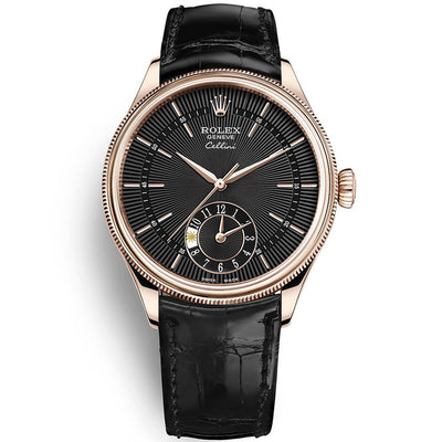 Rolex Cellini Dual Time 39mm 50525 Black Dial