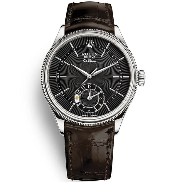 Rolex Cellini Dual Time 39mm 50529 Black Dial