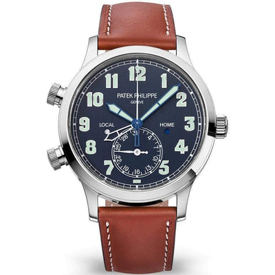 Patek Philippe Calatrava Pilot Travel Time Complication 42mm 5524G Blue Dial - First Class Timepieces