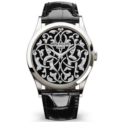 Patek Philippe Calatrava Volutes And Arabesques 38mm 5088-100P-001 Black Enamel Dial-First Class Timepieces