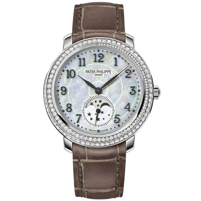 Patek Philippe Extra-Thin Diamond Ribbon Joaillerie Complication Moon Phase 33mm 4968G Mother Of Pearl Dial-First Class Timepieces