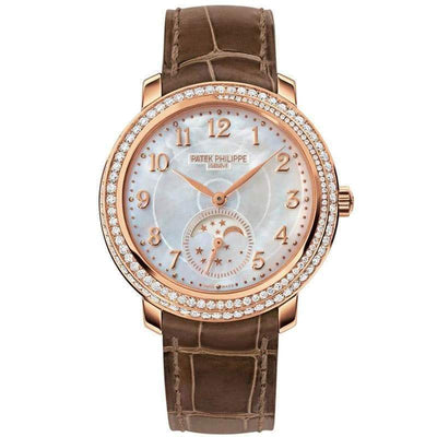 Patek Philippe Extra-Thin Diamond Ribbon Joaillerie Complication Moon Phase 33mm 4968R Mother Of Pearl Dial - First Class Timepieces