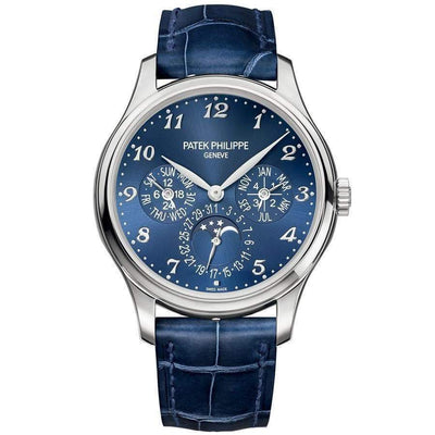 Patek Philippe Extra-Thin Grand Complications Perpetual Calendar Moon Phase 39mm 5327G Blue Dial - First Class Timepieces