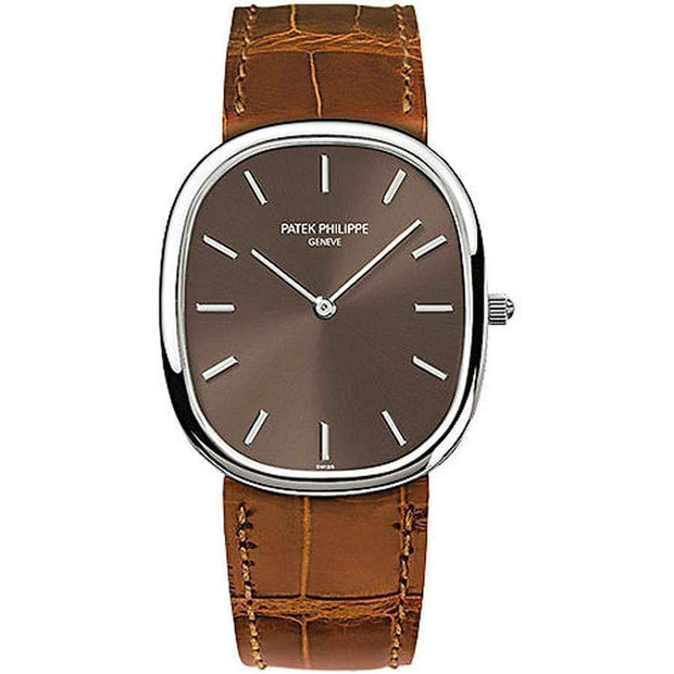 Patek Philippe Golden Ellipse 35mm 3738/100G Brown Dial - First Class Timepieces