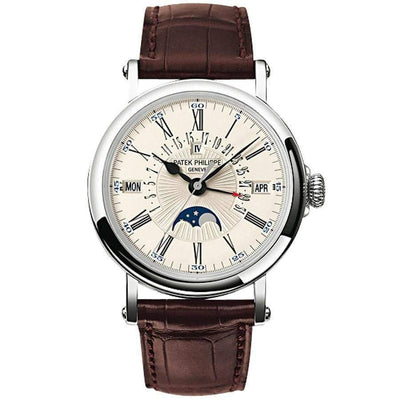 Patek Philippe Grand Complications Perpetual Calendar Moon Phase 38mm 5159G White Dial - First Class Timepieces