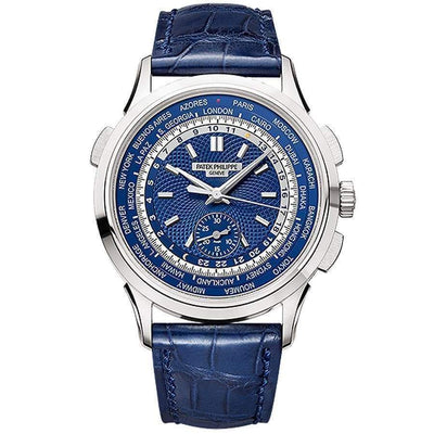 Patek Philippe World Time Chronograph Complication 39mm 5930G Blue Dial - First Class Timepieces