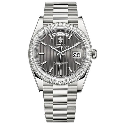 Rolex Day-Date 40 Presidential 228349 Diamond Bezel Dark Rhodium Stripe Motif Dial