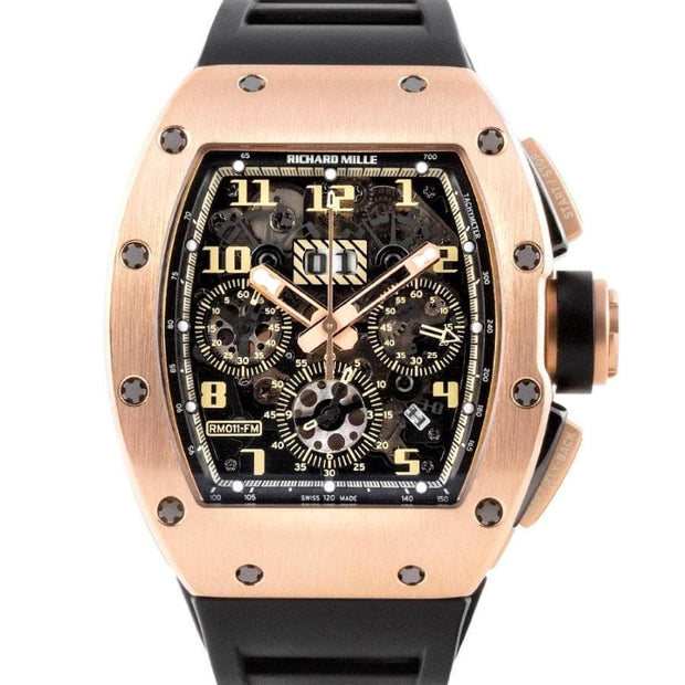 Richard Mille Felipe Massa Ivory Chronograph RM-011 Rose Gold 50mm Overworked Dial-First Class Timepieces