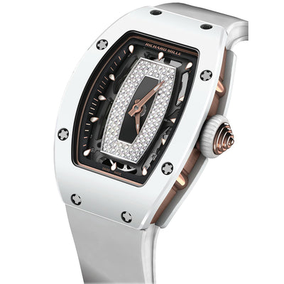 Richard Mille RM07-01 Rose Gold / White Ceramic Overworked Diamond Dial