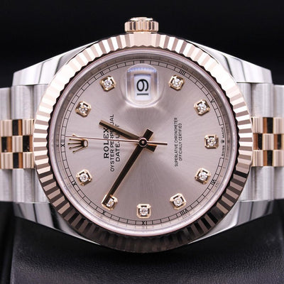Rolex Datejust II 41mm 126331 Pink Diamond Dial Pre-Owned-First Class Timepieces