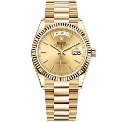 Rolex Day-Date 36mm Presidential 128238 Fluted Bezel Champagne Dial