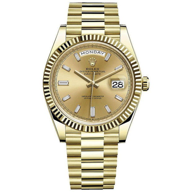 Rolex Day-Date 40 228238 Fluted Bezel Baguette Diamond Champagne Dial-First Class Timepieces