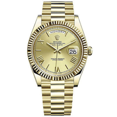 Rolex Day-Date 40 228238 Fluted Bezel Champagne Dial-First Class Timepieces