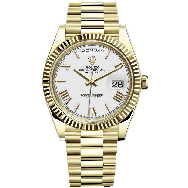 Rolex Day-Date 40 228238 Fluted Bezel White Dial-First Class Timepieces