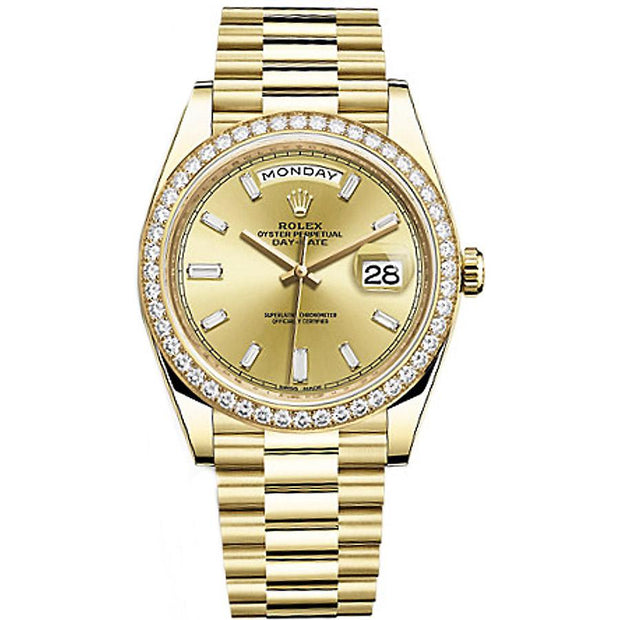 Rolex Day-Date 40 228348 Diamond Bezel Baguette Diamond Champagne Dial-First Class Timepieces