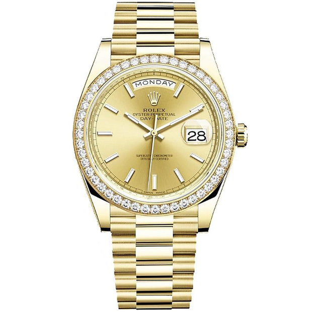 Rolex Day-Date 40 228348 Diamond Bezel Champagne Dial-First Class Timepieces