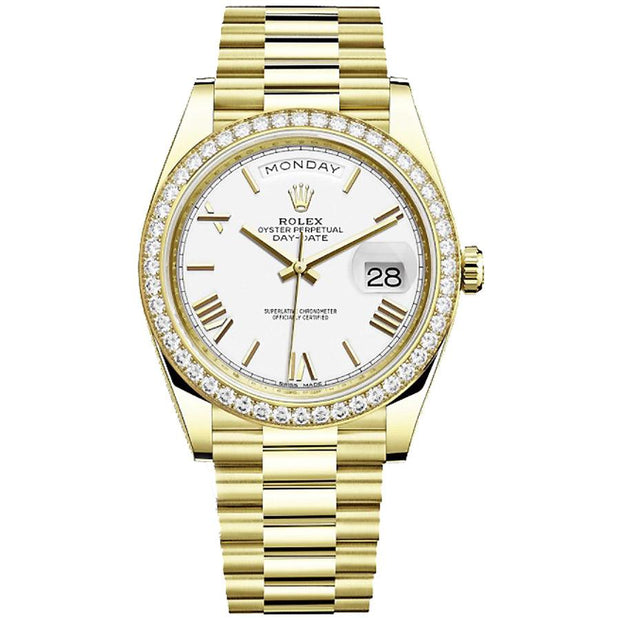 Rolex Day-Date 40 228348 Diamond Bezel White Dial-First Class Timepieces