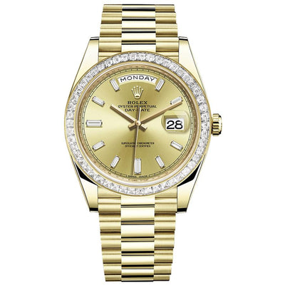 Rolex Day-Date 40 228398 Baguette Diamond Bezel Baguette Diamond Champagne Dial-First Class Timepieces