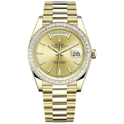 Rolex Day-Date 40 228398 Baguette Diamond Bezel Champagne Dial-First Class Timepieces