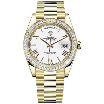 Rolex Day-Date 40 228398 Baguette Diamond Bezel White Dial-First Class Timepieces
