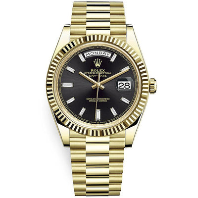 Rolex Day-Date 40 Presidential 228238 Fluted Bezel Baguette Diamond Black Dial-First Class Timepieces