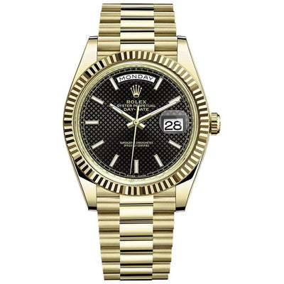 Rolex Day-Date 40 Presidential 228238 Fluted Bezel Black Dial-First Class Timepieces