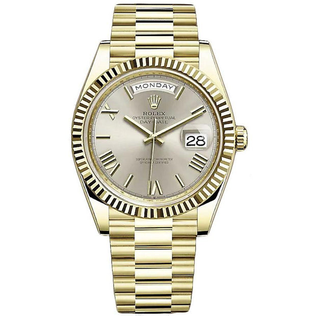 Rolex Day-Date 40 Presidential 228238 Fluted Bezel Silver Dial-First Class Timepieces