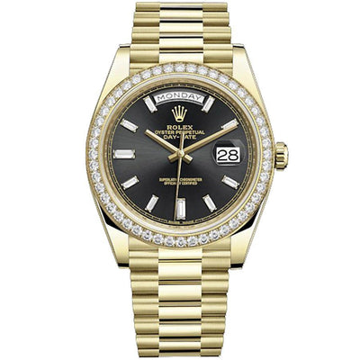 Rolex Day-Date 40 Presidential 228348 Diamond Bezel Baguette Diamond Black Dial-First Class Timepieces