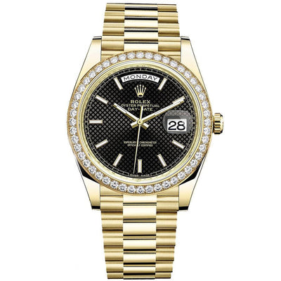 Rolex Day-Date 40 Presidential 228348 Diamond Bezel Black Dial-First Class Timepieces