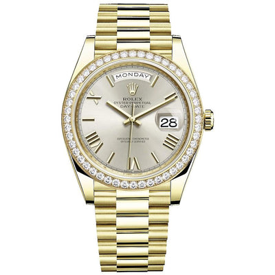 Rolex Day-Date 40 Presidential 228348 Diamond Bezel Silver Dial-First Class Timepieces