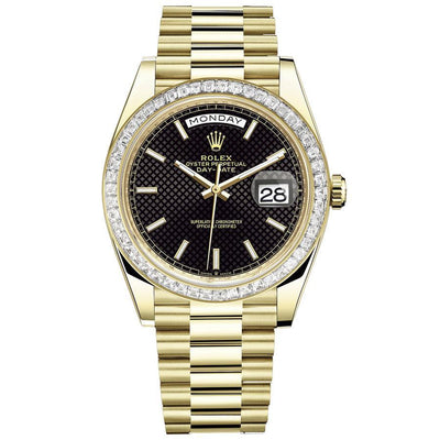 Rolex Day-Date 40 Presidential 228398 Baguette Diamond Bezel Black Dial-First Class Timepieces