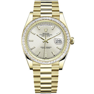 Rolex Day-Date 40 Presidential 228398 Baguette Diamond Bezel Silver Dial-First Class Timepieces