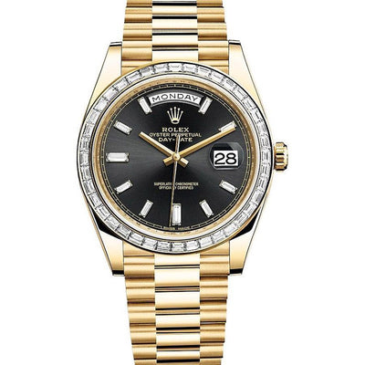Rolex Day-Date 40 Presidential 228398TBR Baguette Diamond Black Dial-First Class Timepieces