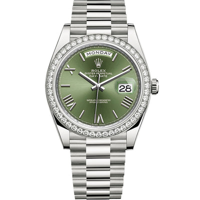 Rolex Day-Date 40 Presidential 228349 Diamond Bezel Olive Green Dial