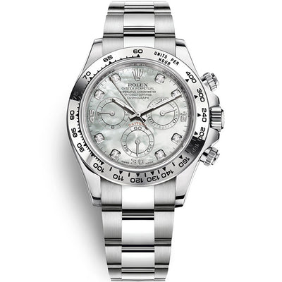 Rolex Daytona 40mm 116509 White Gold White Mother Of Pearl Diamond Dial