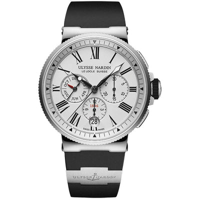 Ulysse Nardin Marine Chronograph 43mm 1533-150-3/40 Silver Dial-First Class Timepieces
