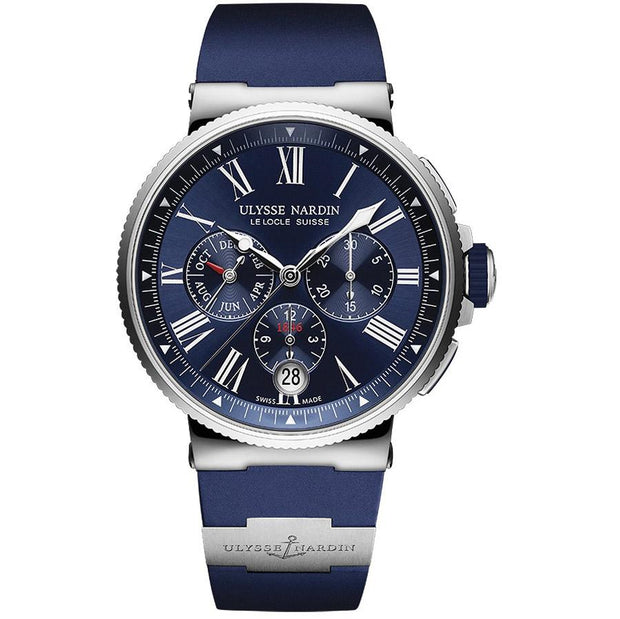 Ulysse Nardin Marine Chronograph 43mm 1533-150-3/43 Navy Blue Dial-First Class Timepieces