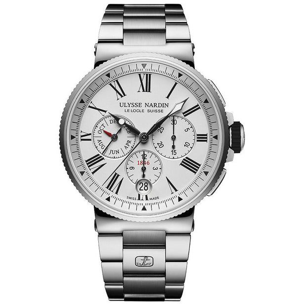 Ulysse Nardin Marine Chronograph 43mm 1533-150-7M/40 White Dial-First Class Timepieces