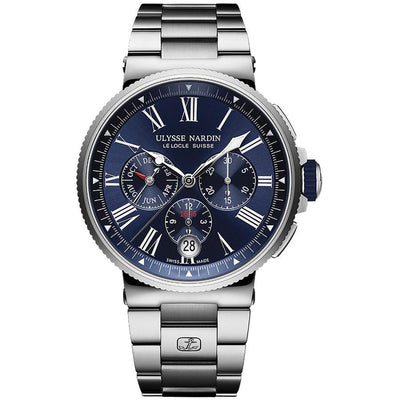 Ulysse Nardin Marine Chronograph 43mm 1533-150-7M/43 Blue Dial-First Class Timepieces