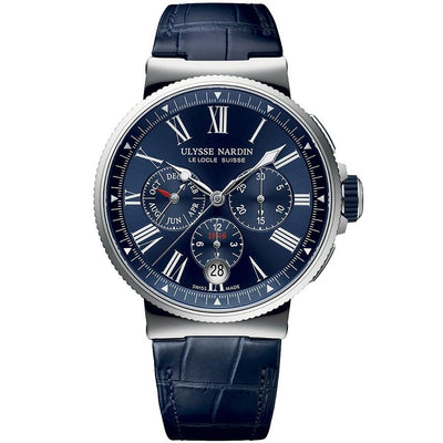 Ulysse Nardin Marine Chronograph 43mm 1533-150/43 Blue Dial-First Class Timepieces