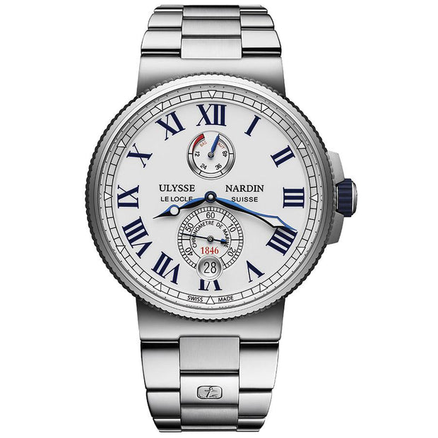 Ulysse Nardin Marine Chronometer 45mm 1183-122-7M/40 White Dial-First Class Timepieces