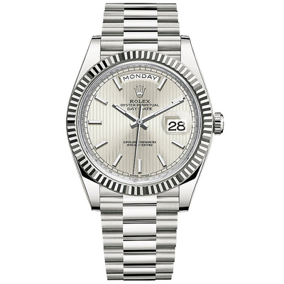Rolex Day-Date 40 Presidential 228239 Fluted Bezel Silver Stripe Motif Dial