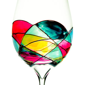 Beautiful Hand Painted Wine Glasses - Set of 2  Hold 28 Ounces