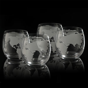 Etched World Globe Glasses 10 oz -Set of 4