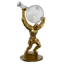"Load image into Gallery viewer, Atalas Bronze World Globe Whiskey Decanter - 15"" Tall - With 2 World Glasses"
