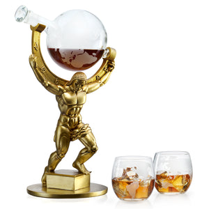 "Atalas Bronze World Globe Whiskey Decanter - 15"" Tall - With 2 World Glasses"