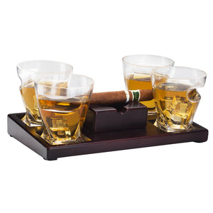 Cigar Holder Whiskey Glasses Set