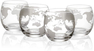 Etched World Decanter Car Whiskey Globe With 4 World Map Glasses