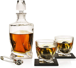 Whiskey Stones & Decanter Gift Set, 2 Stainless Steel Whiskey Balls, 2 Twist Glasses, Decanter, 2 Coasters, Freezer Pouch & Special Tongs