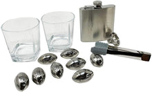 Load image into Gallery viewer, Whiskey Glasses And Football Chilling Stones Gift Set, 2 Whiskey Glasses, 8 Stainless Steel Whiskey Footballs, Coasters, Special Tongs & Freezer Pouch